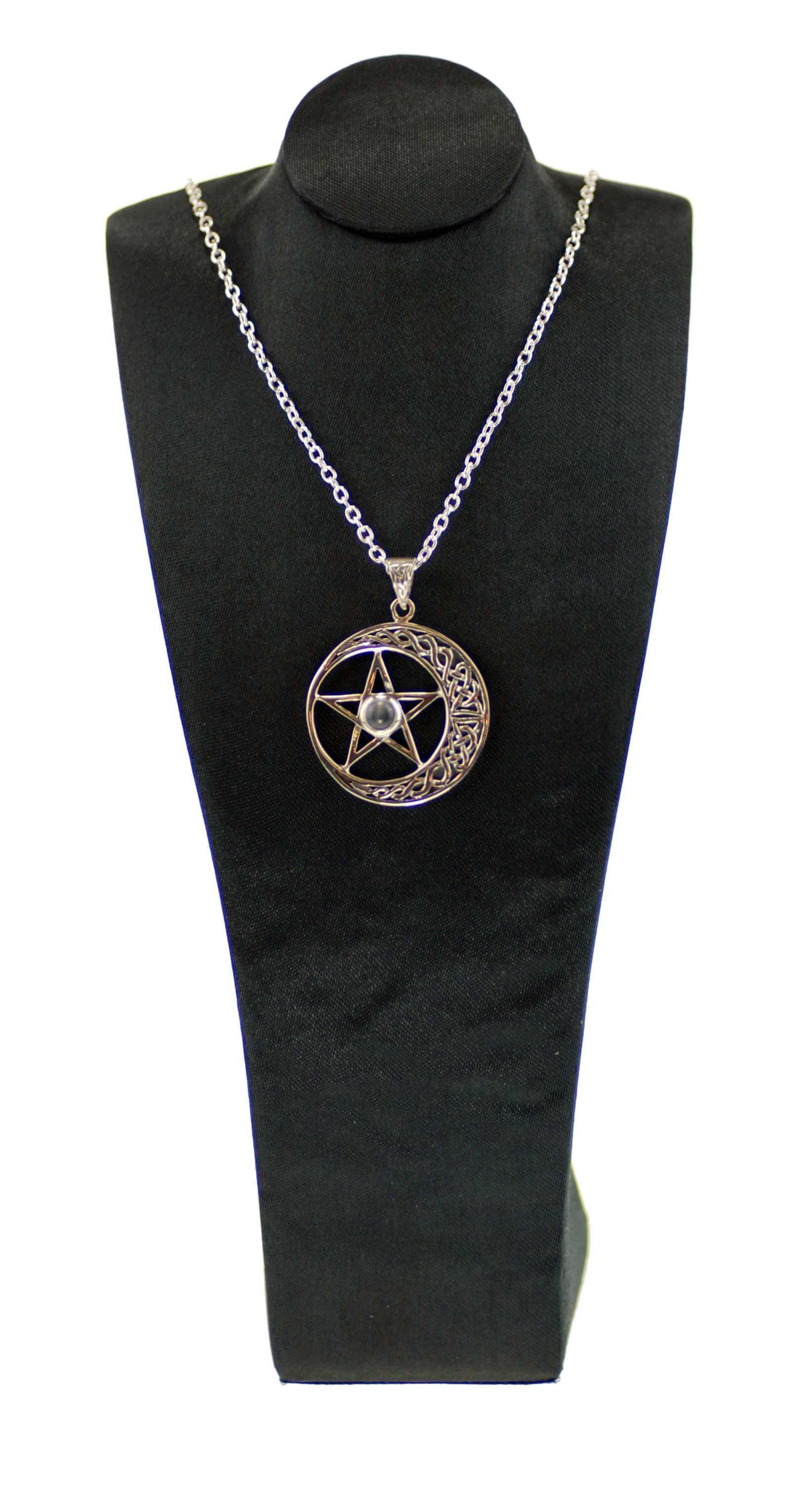 Sterling Silver & Moonstone Pentagram Moon Pendant