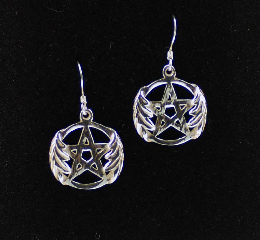 Sterling Silver Oak Leaf Pentagram Earrings