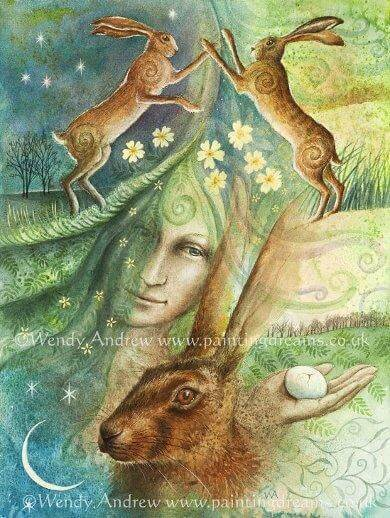Eostre & The Hares Egg Card
