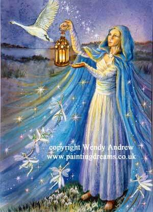 Brigid With Snowdrop Faeries Card