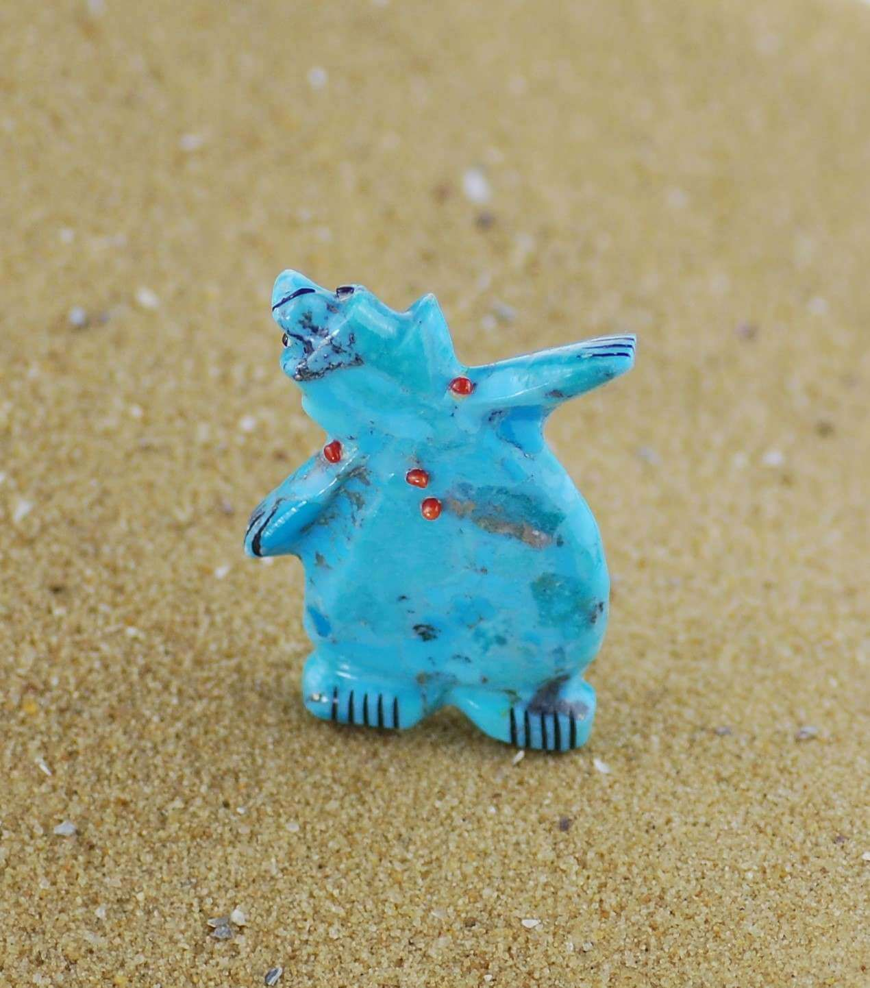 Image shows turquoise dancing fetish bear by claudia piena