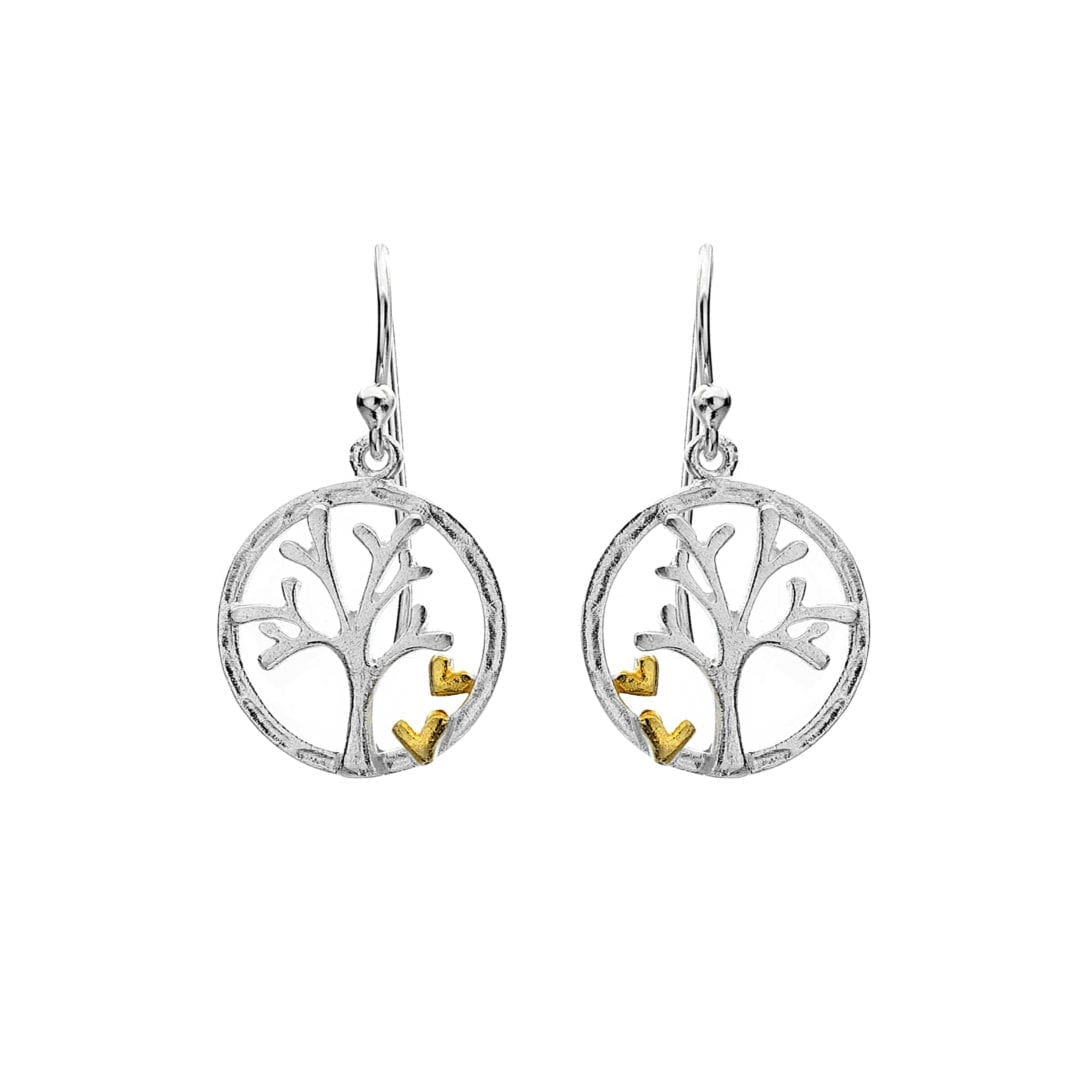 Image shows sterling silver tree of life earrings with gold plated hearts. Tree of life hear earrings