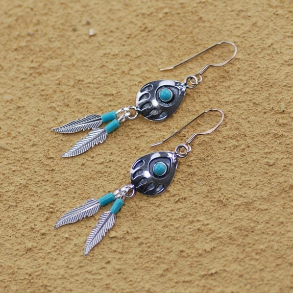 Bear Paw and Feather Earrings