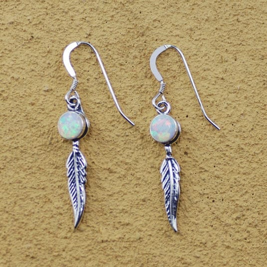 Opal and small feather earrings happy glastonbury for Native american feather jewelry