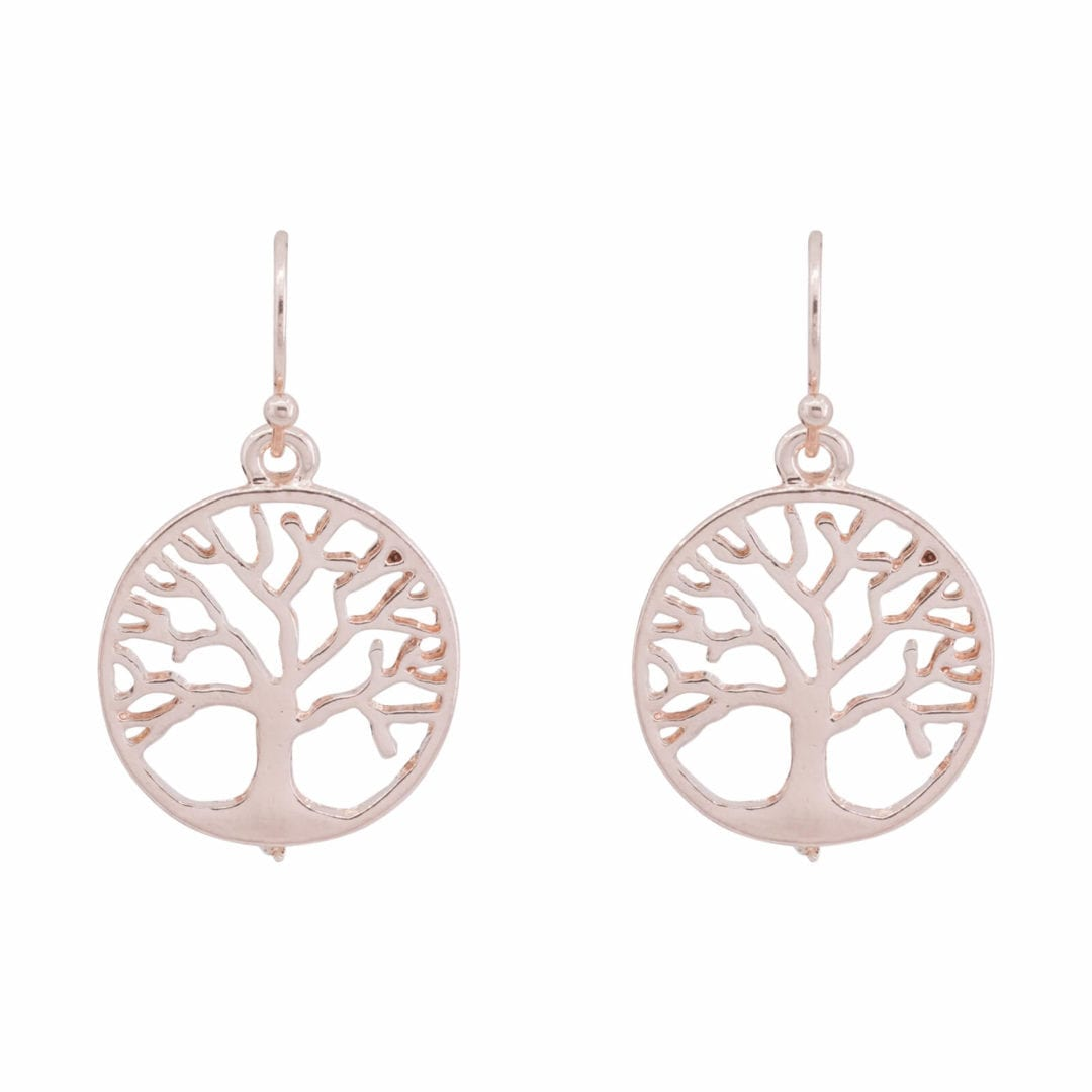 DE0384A Rose Gold Traditional Tree of Life Design Earrings