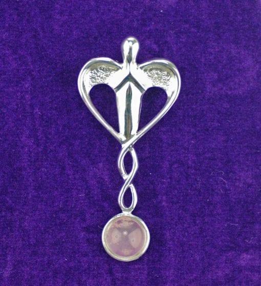 Sterling Silver & Rose Quartz Angel/Goddess Pendant