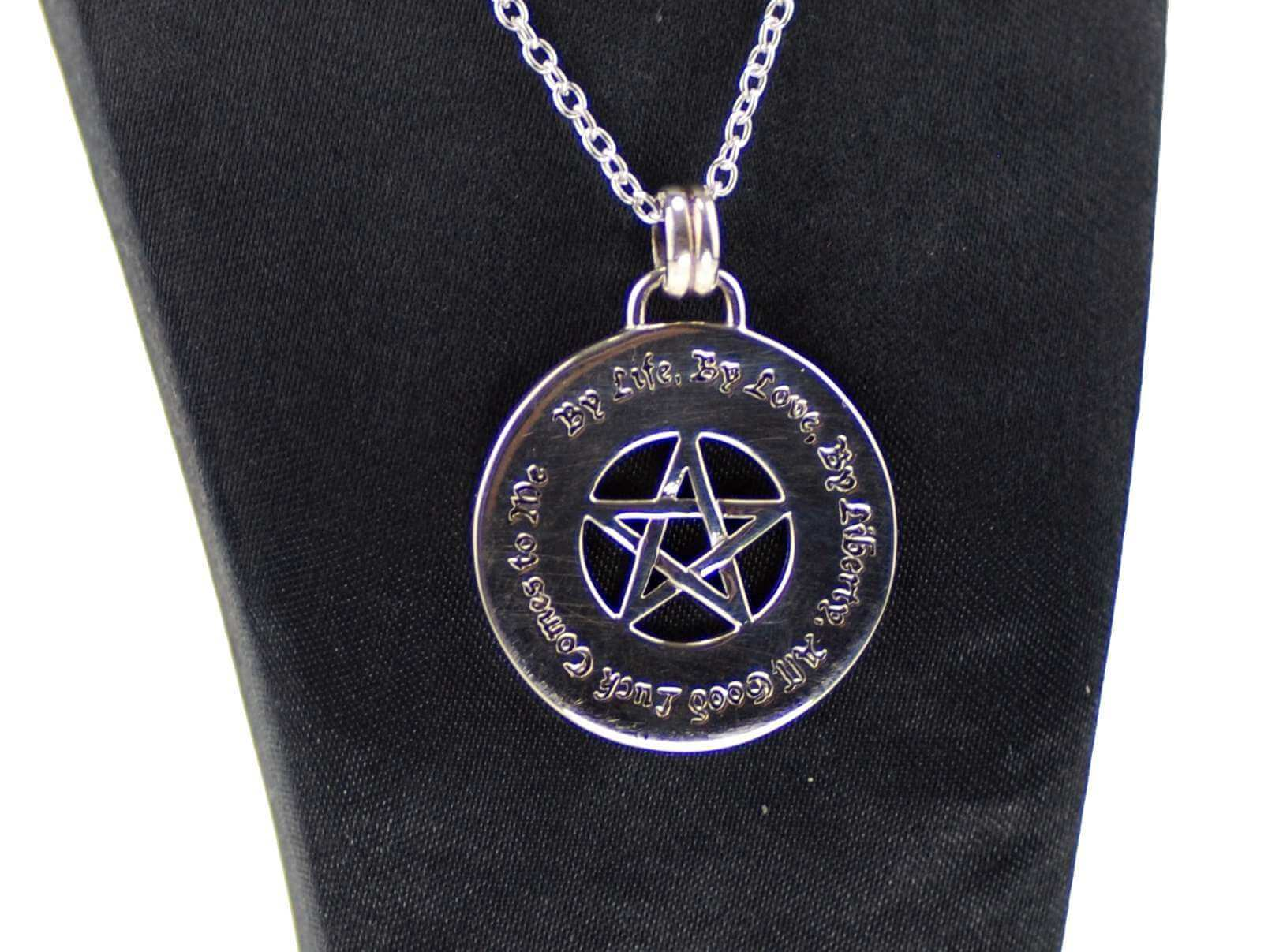 Sterling silver inscribed luck pentagram pendant happy glastonbury sterling silver inscribed luck pentagram pendant aloadofball Choice Image