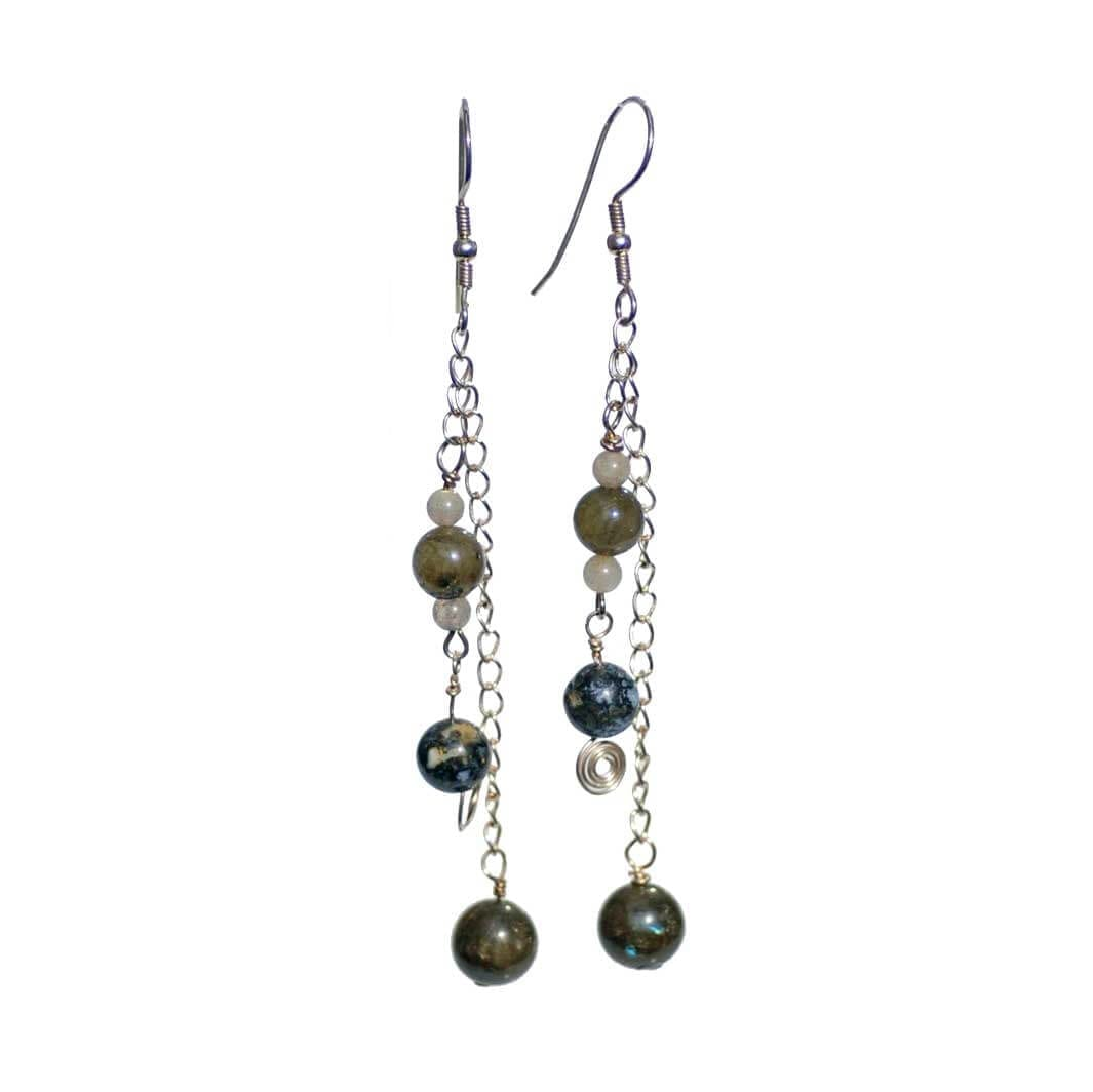 Silver Oceanic Jasper/Labradorite Earrings