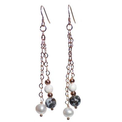 Rose Gold Oceanic Jasper/Pearl Earrings
