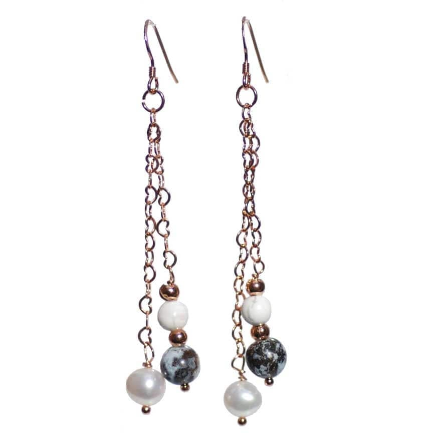 Rose Gold Oceanic Jasper/Pearl Earrings