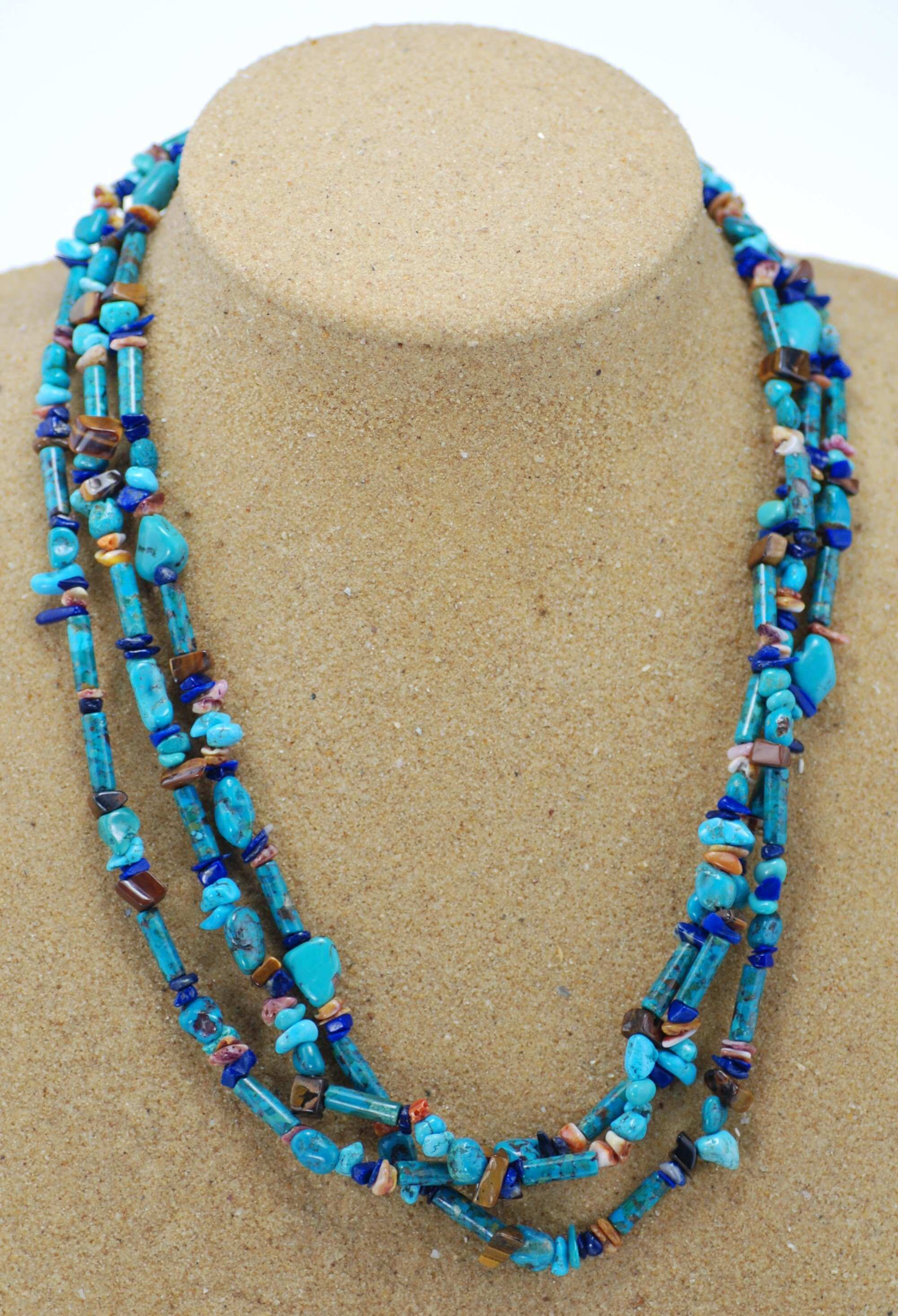 Silver Turquoise/Lapis/Tigers Eye Necklace