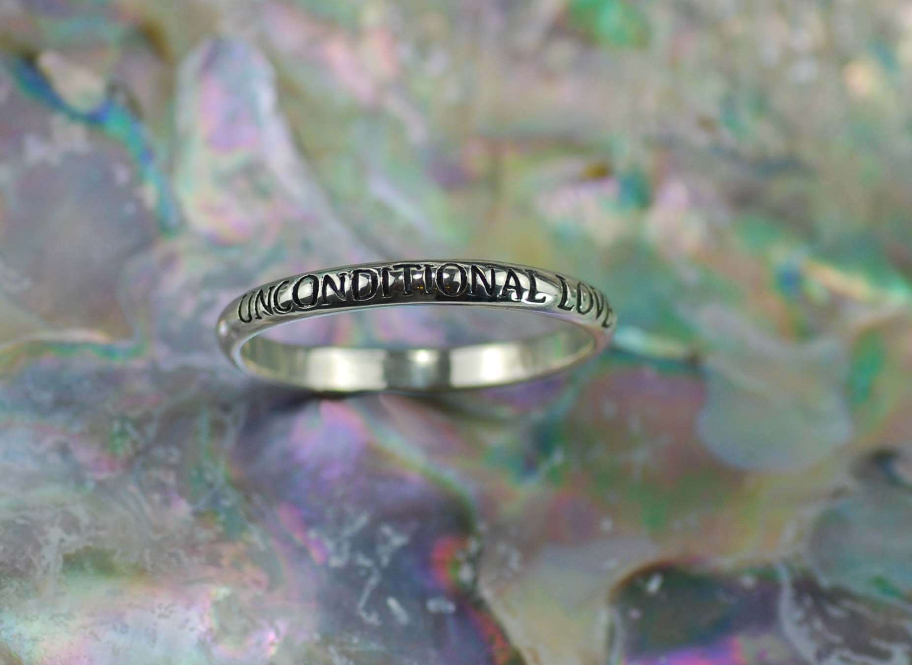 Sterling Silver Unconditional Love Message Band Ring