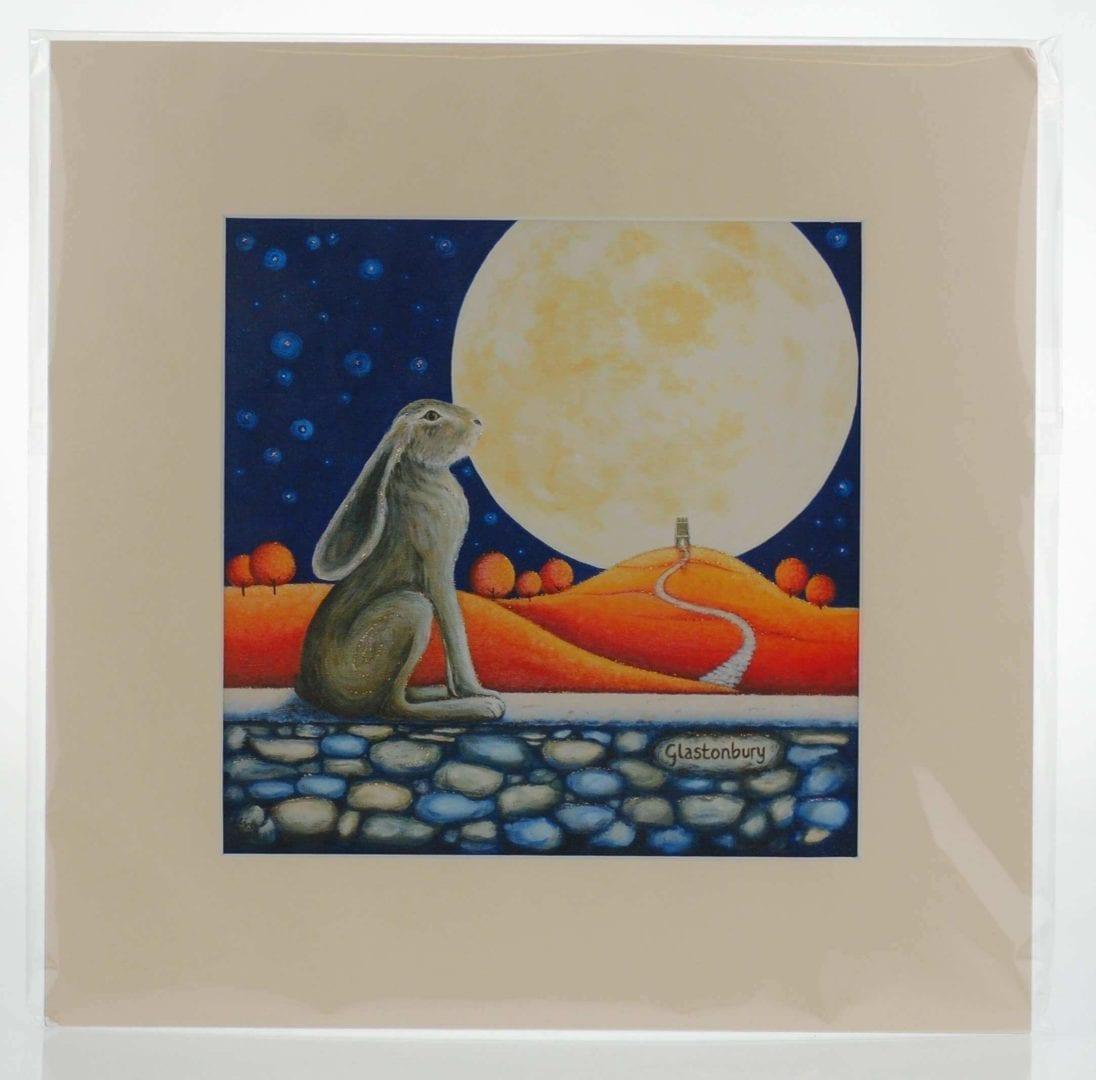 Moon Gazing Hare Mounted Print