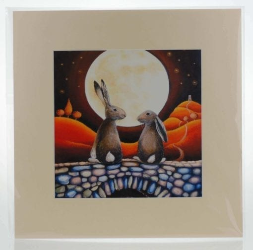 Hares in Love Mounted Print