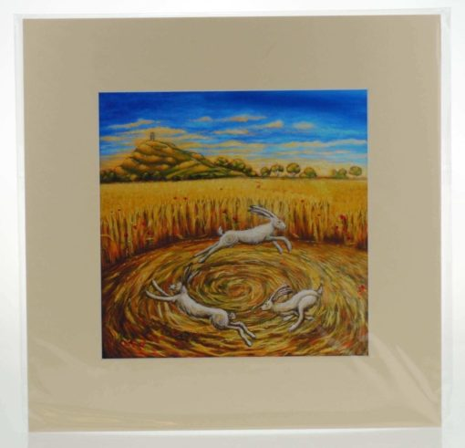 Hares of the Harvest Mounted Print
