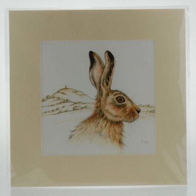 The Magical Glastonbury Hare Mounted Print