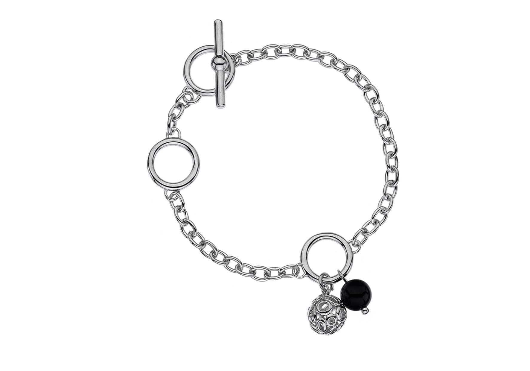 Rhodium Plated Silver & Diamond Ball Bracelet