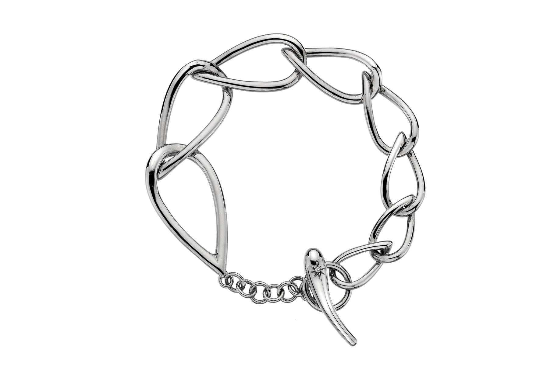 Rhodium Plated Silver & Diamond Bangle