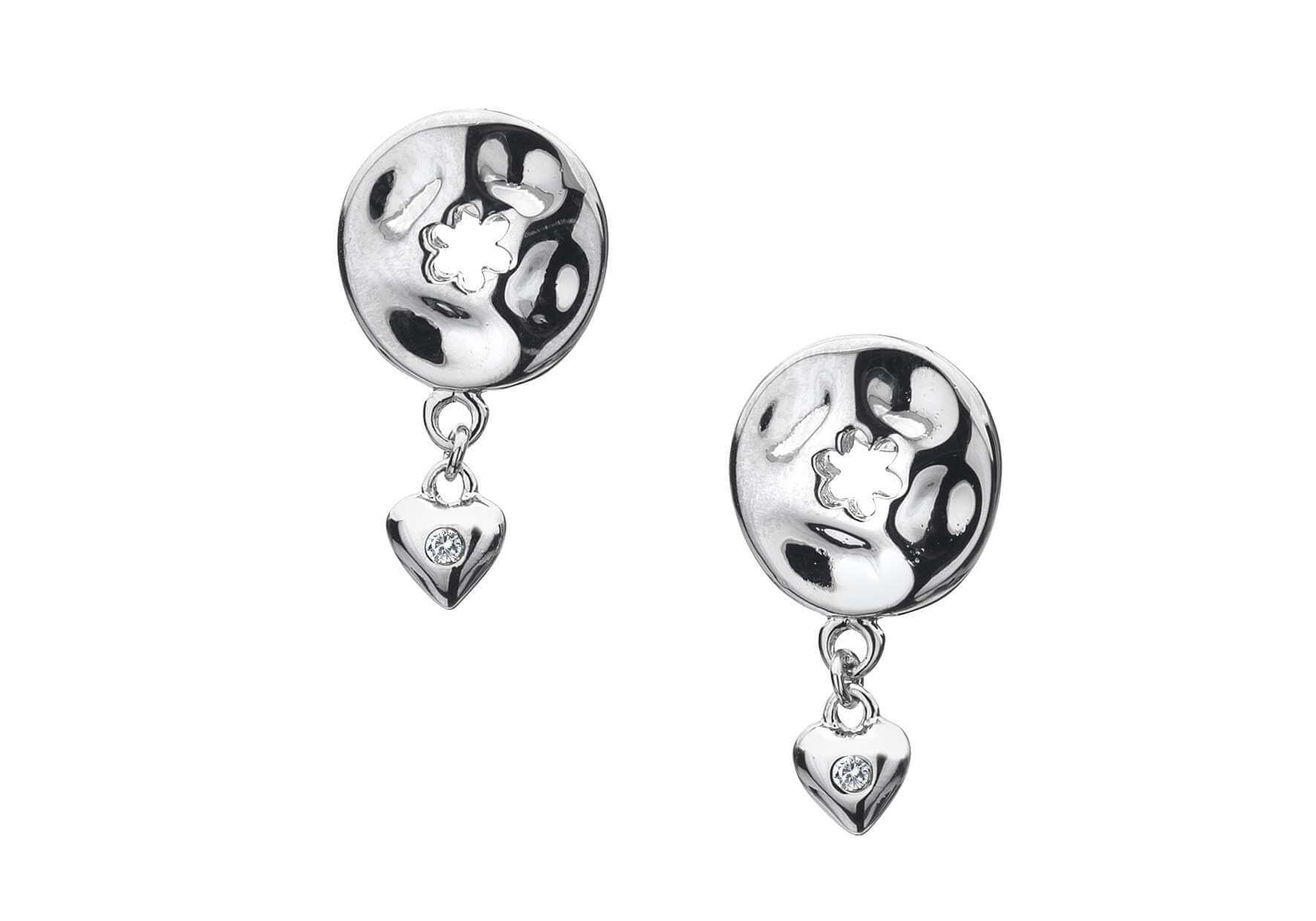 Rhodium Plated Silver & Diamond Heart Earrings