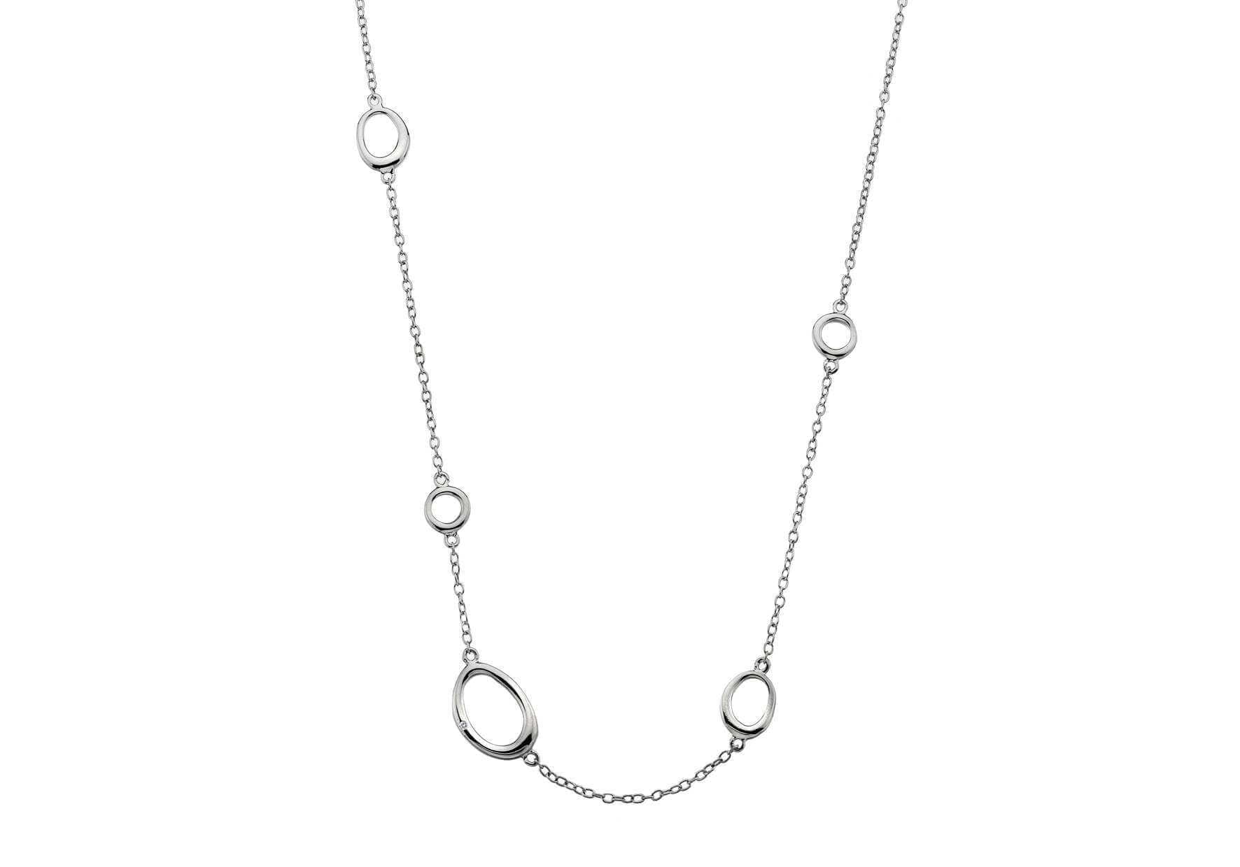 Rhodium Plated Silver & Diamond Necklace
