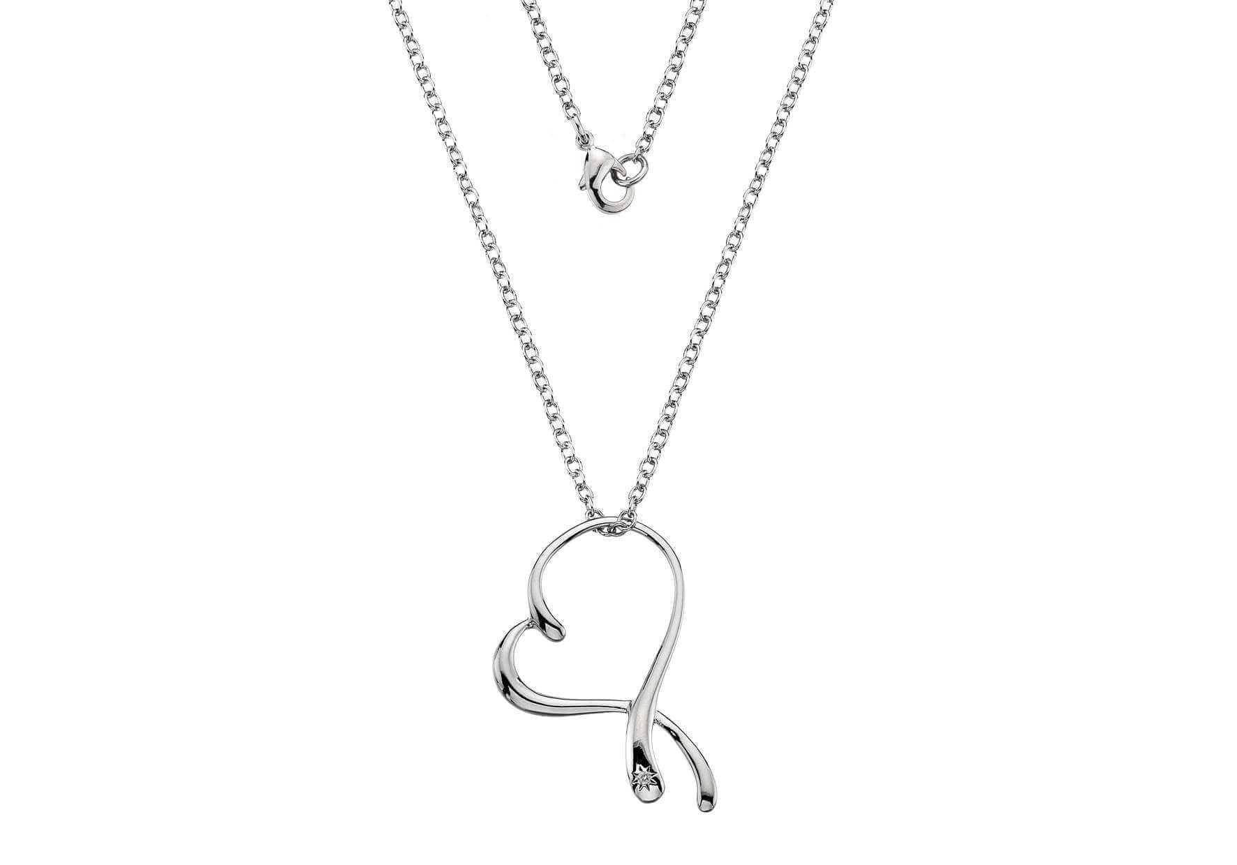 Rhodium Plated Silver/Diamond Heart Swirl Necklace