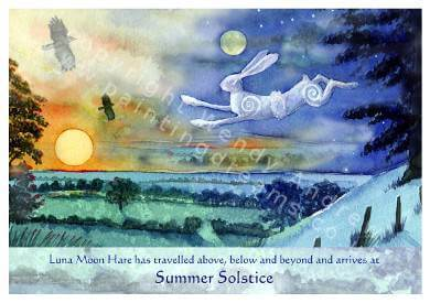 Summer Solstice Hare Card