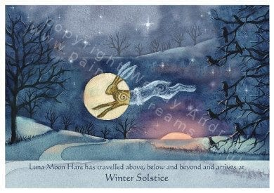 Winter Solstice Hare Card