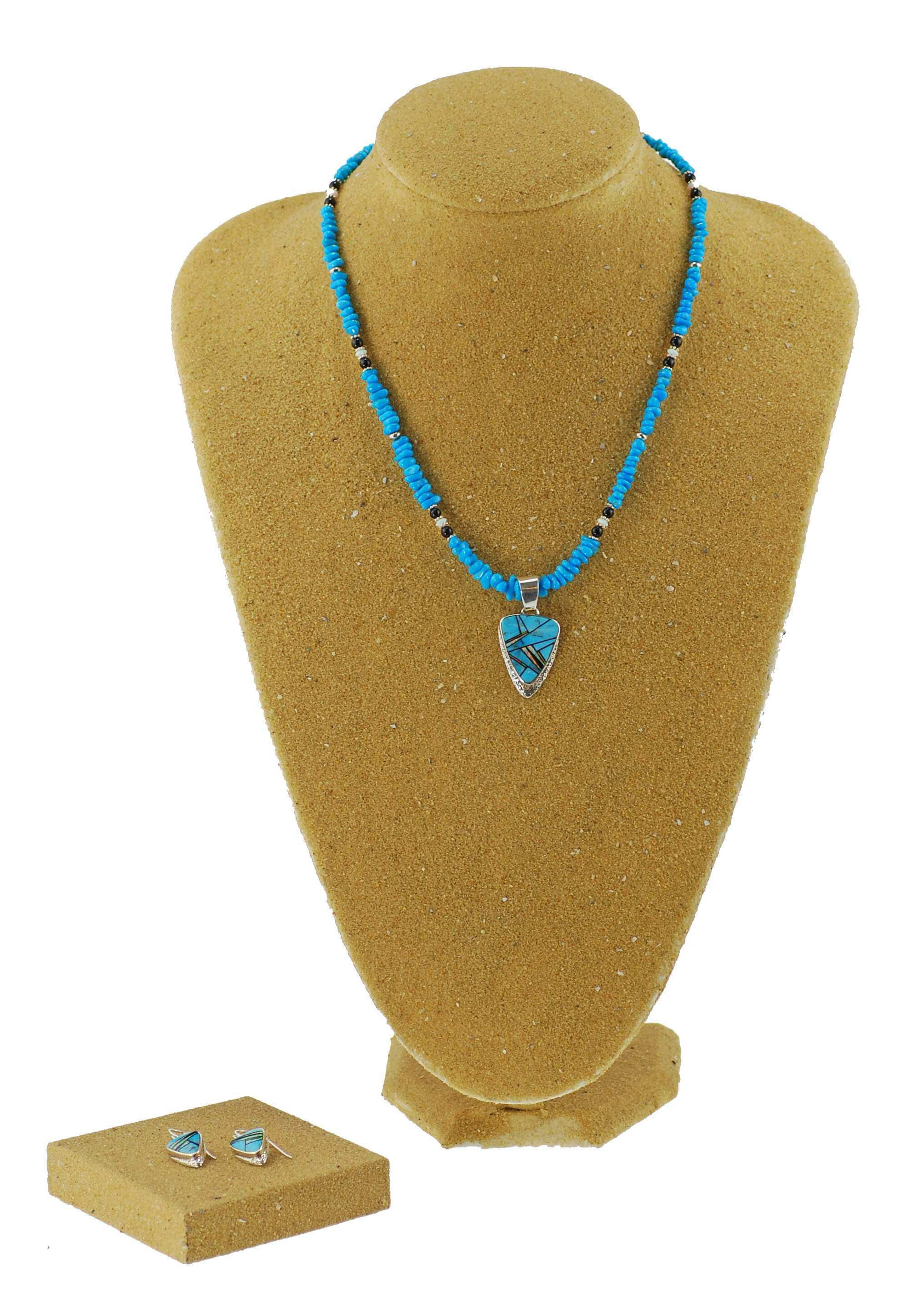 Sterling Silver Turquoise and Opal Fine Inlay Pendant and Earrings Set
