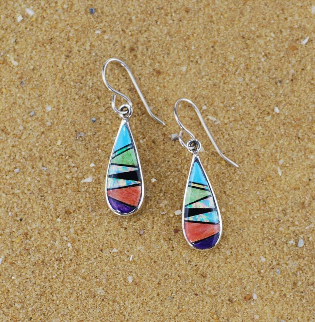 Sterling Silver Turquoise, Opal, Sugilite and Onyx Earrings