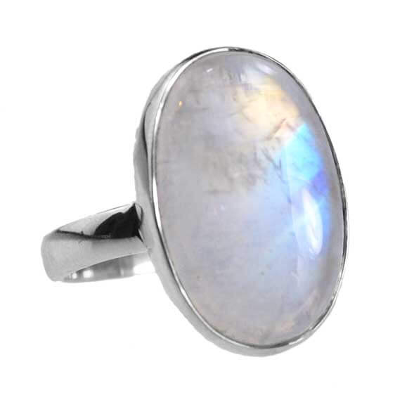 Sterling Silver & AA Grade Rainbow Moonstone Ring