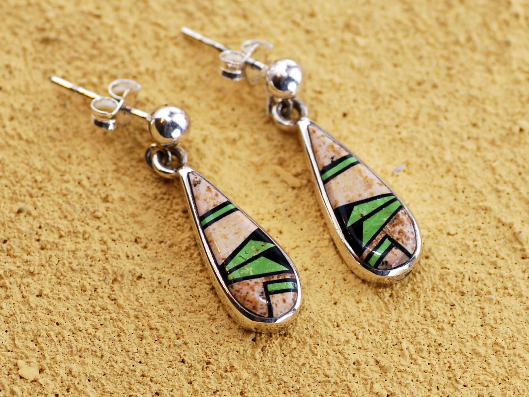 Image shows Jasper and turquoise inlay earrings by Rick Tolino