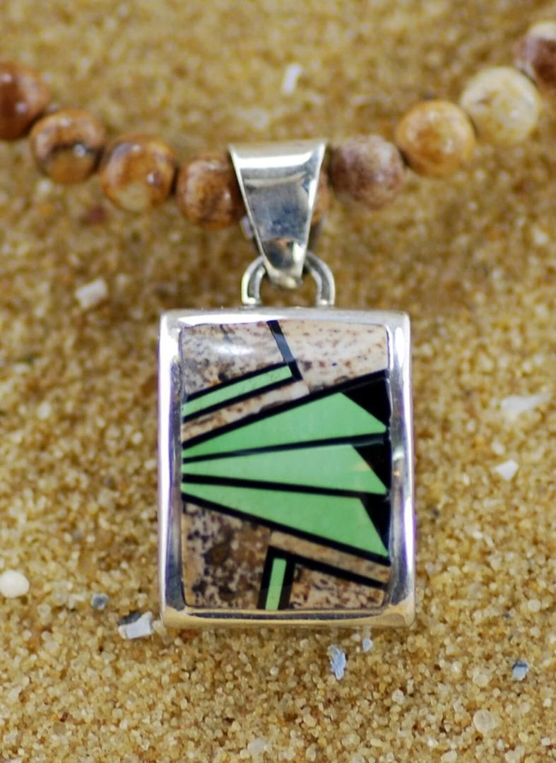 Image shows Jasper and turquoise inlay pendant with beaded chain by Rick Tolino