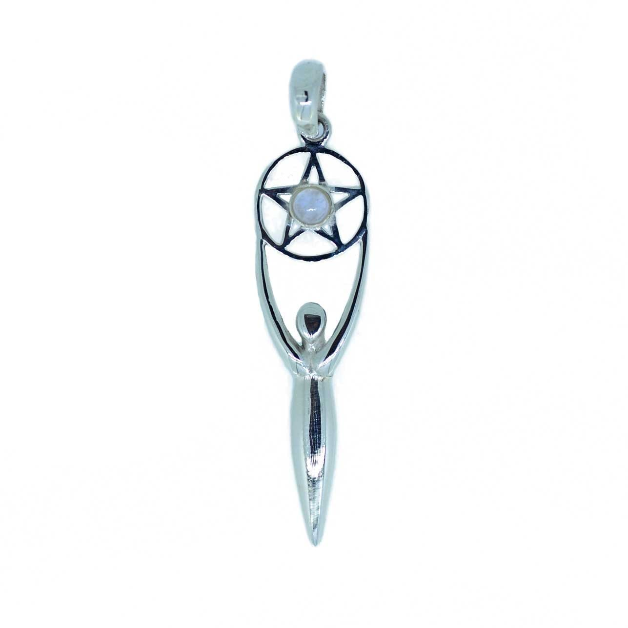 Silver & Moonstone Pentagram Goddess Pendant