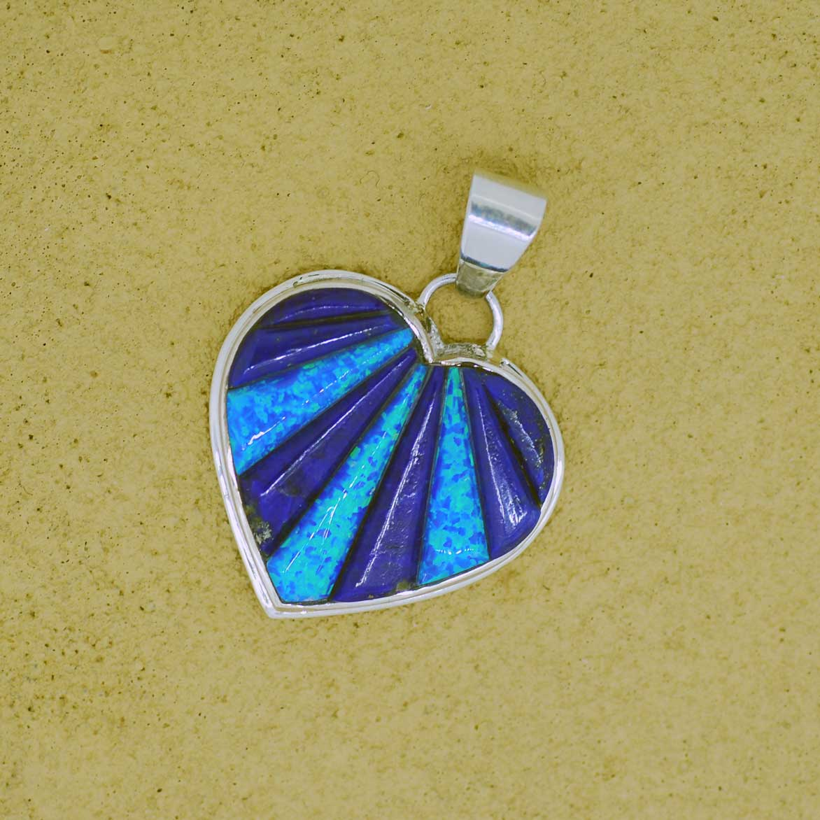 Native American Sterling Silver Lapis and Opal Heart Pendant