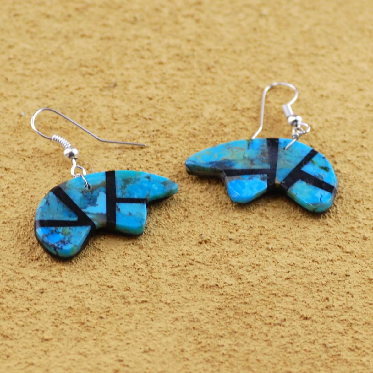 Turquoise Inlay Bear Earrings