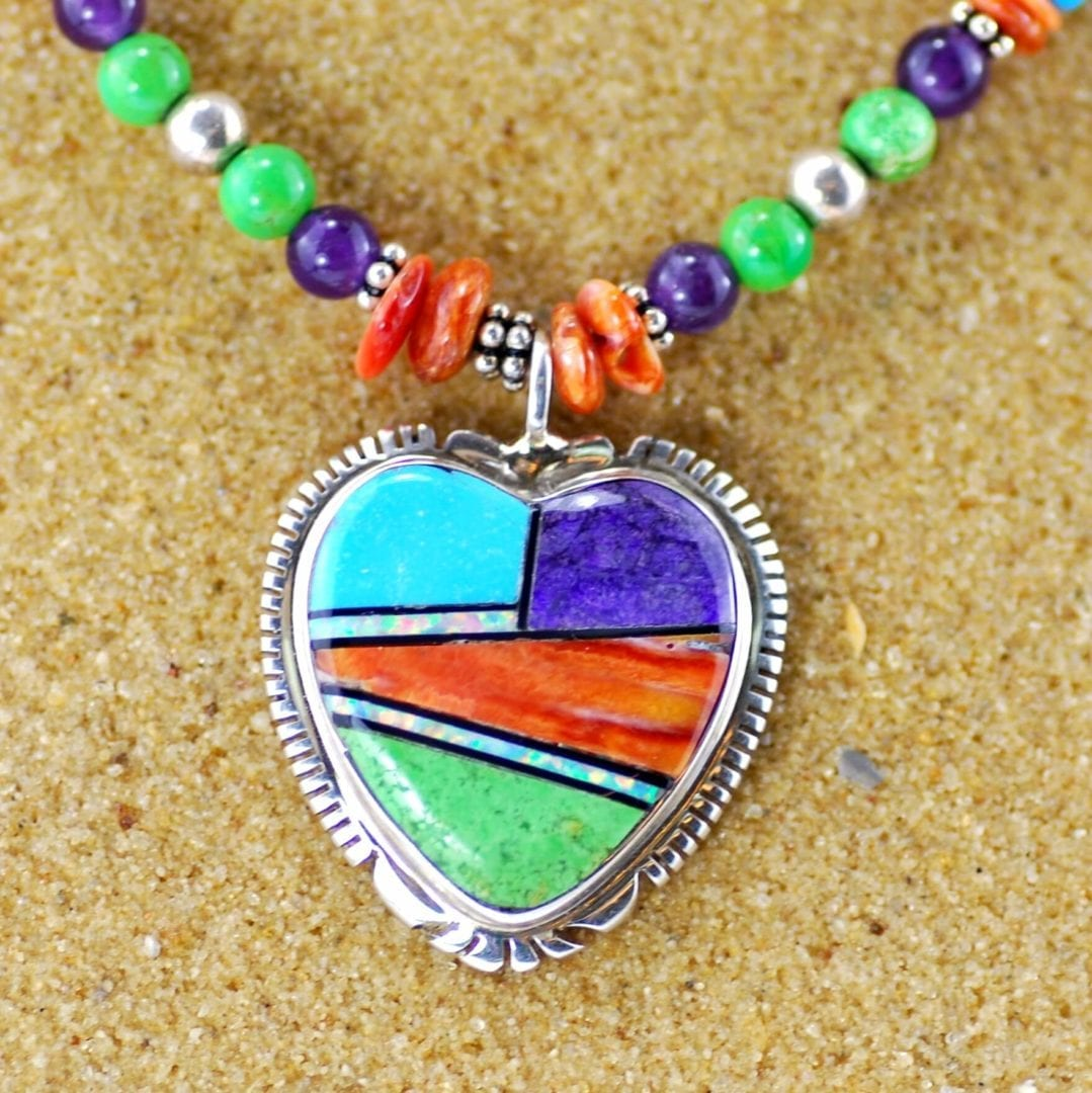 Inlay Heart Pendant and Beaded Necklace by Thomas Francisco