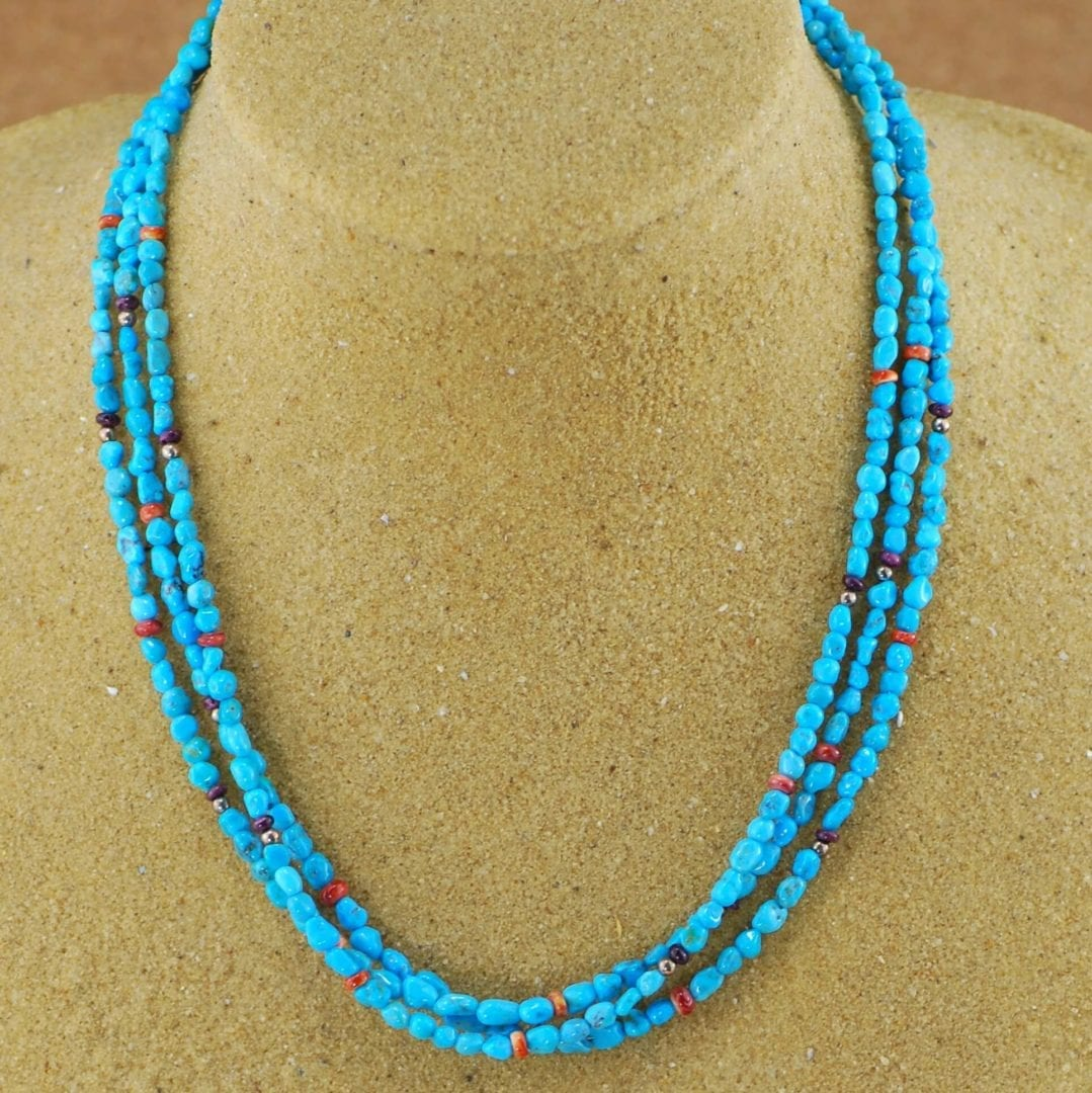3 Strand Sleeping Beauty Mine Turquoise Beaded Necklace