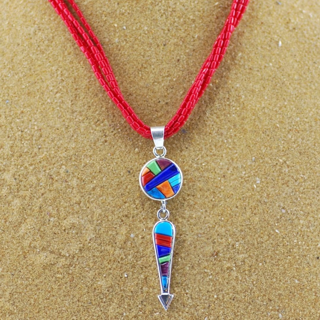 5 Strand Spiny Oyster Necklace With Yei Raised Inlay Pendant