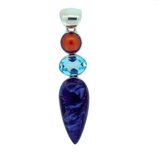 Pearl, blue topaz, pietersite jasper and sterling silver pendant