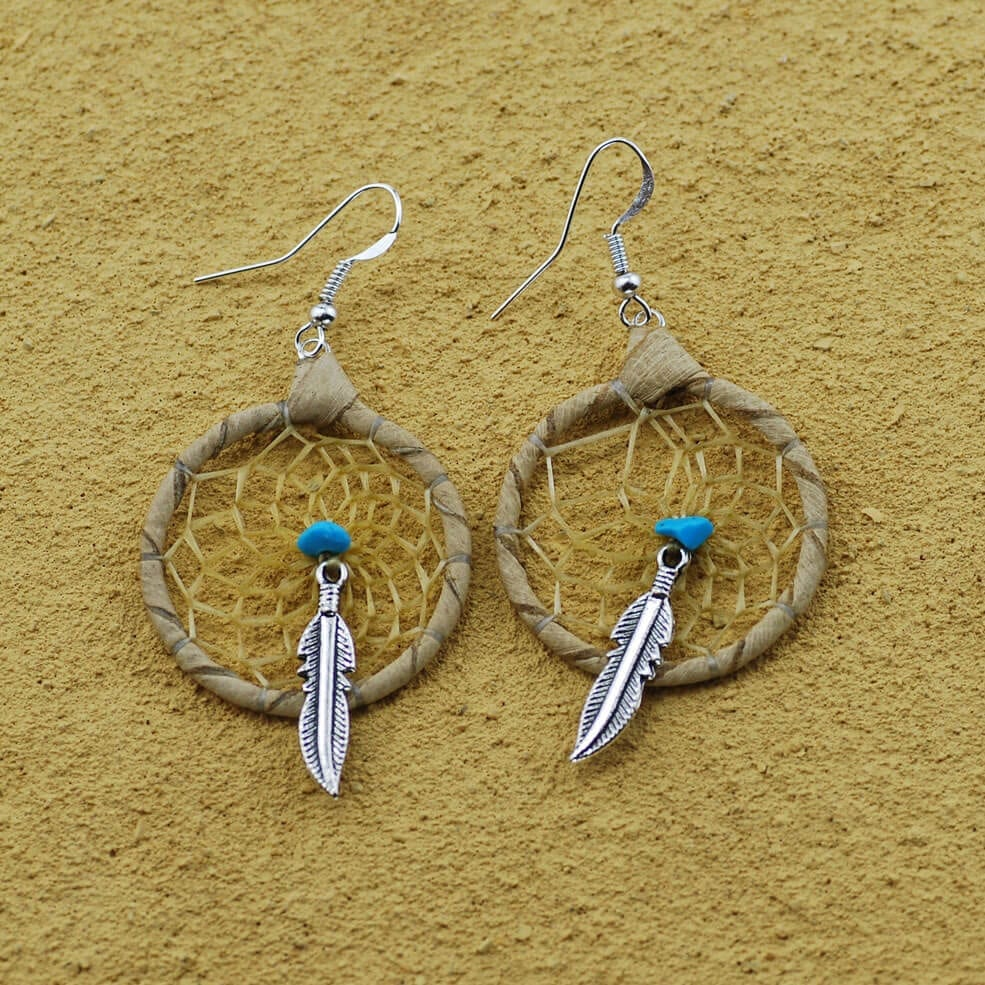 Beige Dream Catcher Earrings