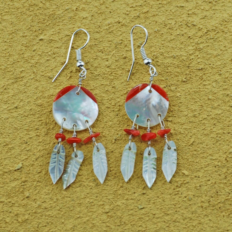 Pearl Feather Drop Earrings