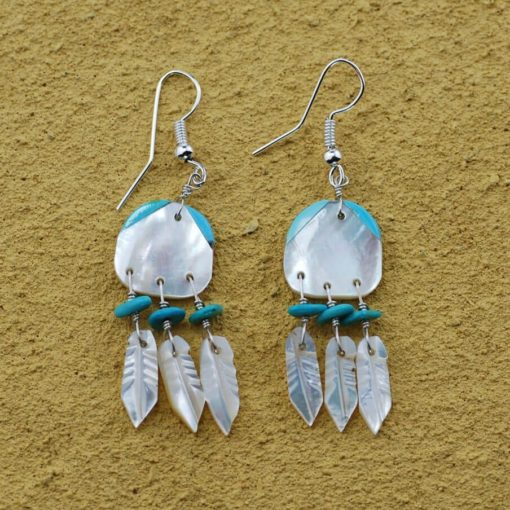 Mother of Pearl Feather Drop Earrings With Turquoise