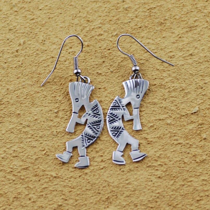 Sterling Silver Patterned Kokopelli Earrings