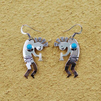 Silver and Turquoise Kokopelli Earrings