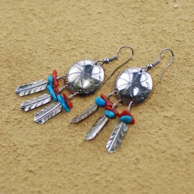 Spirit Shield Earrings With Turquoise and Sea Bamboo