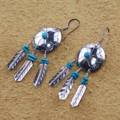3 Feather Spirit Shield Earrings
