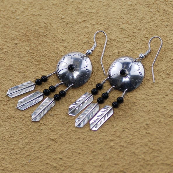 3 Feather Spirit Shield Earrings With Black Obsidian