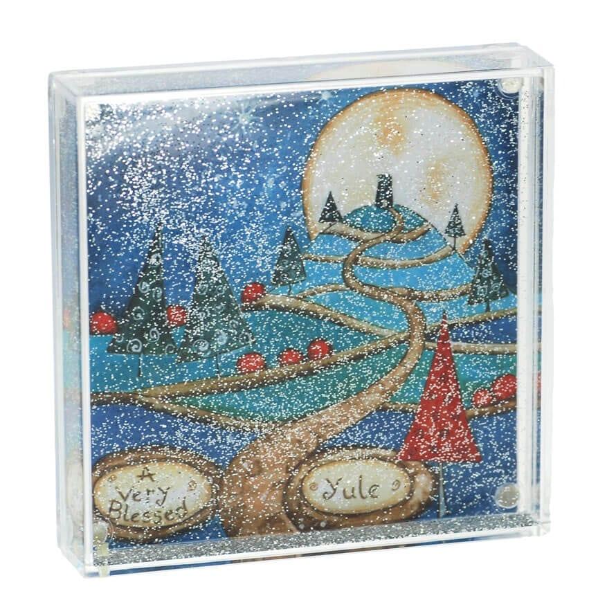 Blessed Yule Glitter Snow Globe Frame - Happy Glastonbury