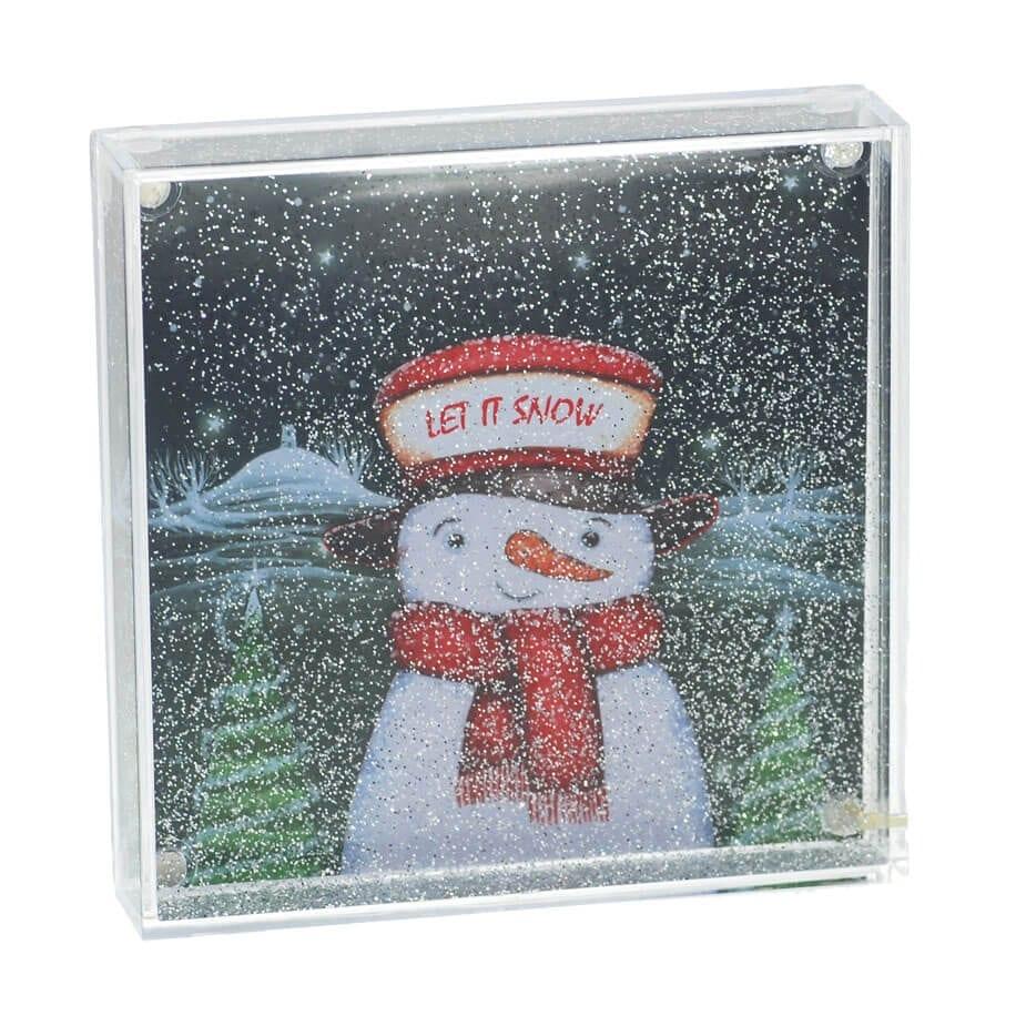 Let It Snow Glitter Snow Globe Frame - Happy Glastonbury