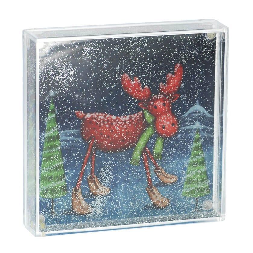 Happy Christmas Glitter Snow Globe Frame Happy Glastonbury